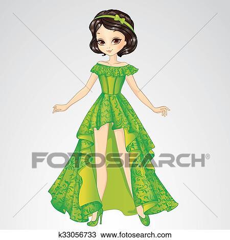 Clipart beaut princesse dans robe verte k33056733 - Dessin de robe de princesse ...