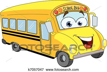 clip art of cartoon school bus k7057047 search clipart rh fotosearch com