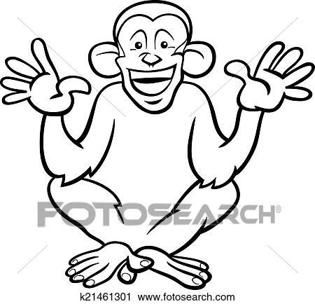 Clipart - chimpancé, mono, caricatura, colorido, página k21461301 ...