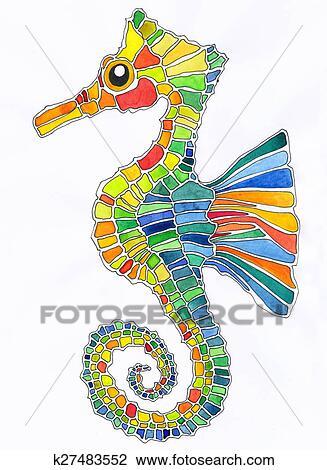 Coloridos Cavalo Marinho Desenho K27483552 Fotosearch