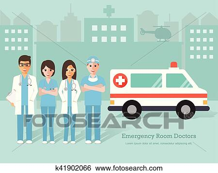 Clip Art Of Emergency Room Doctors And Nurse K41902066