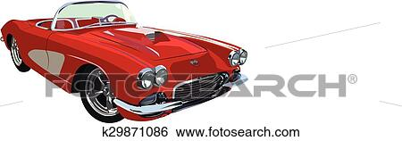Clip Art Of Red Classic Muscle Car K29871086 Search Clipart