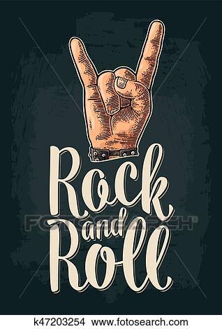 Rock And Roll Signe Vecteur Noir Vendange Gravé Illustration Clipart
