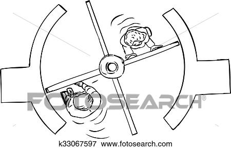 Stock Illustration Of Top Down Of Revolving Door Outline K33067597