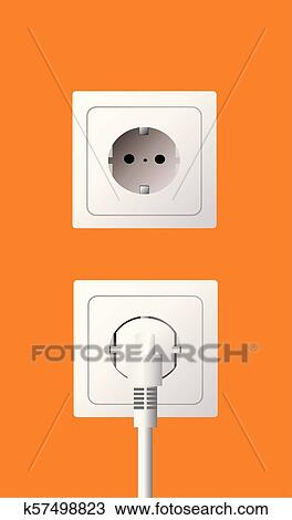Clipart Of Wall Socket And Electric Plug K57498823 Search Clip Art