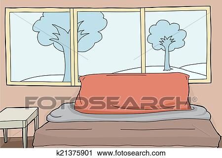 Clipart Of Bedroom Background K21375901 Search Clip Art