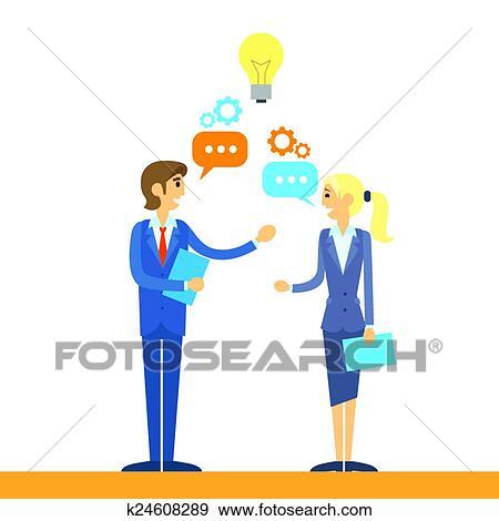 clip art of business people talking discussing idea flat k24608289 rh fotosearch com clip art business people office clip art business cards