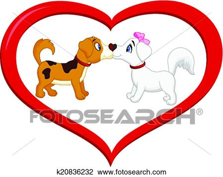 Image of: Clipart Clipart Cute Cartoon Dog Kissing Each Other Fotosearch Search Clip Art Illustration Fotosearch Cute Cartoon Dog Kissing Each Other Clipart K20836232