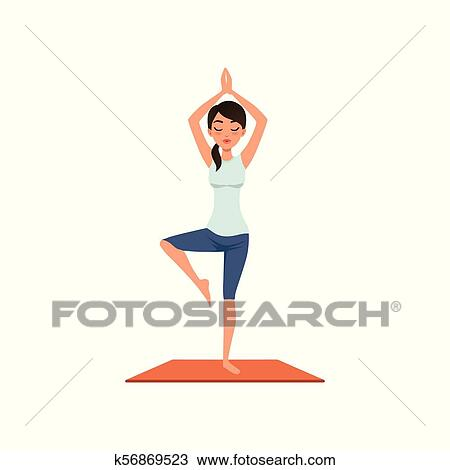 girl standing in tree pose vriksasana ii beautiful woman