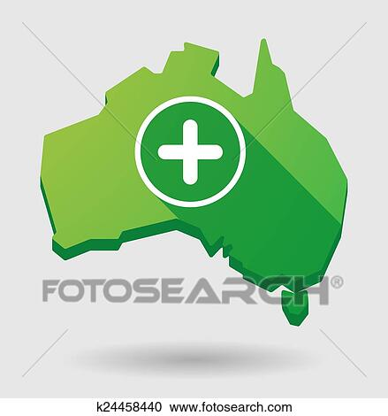Australia Map Icon.Green Australia Map Shape Icon With A Sum Sign Clipart