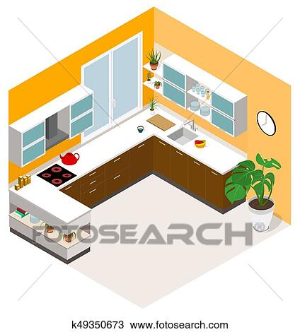 Isometric Kitchen Design Vector Isometric Low Poly Kitchen Room