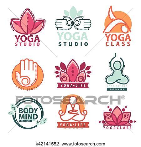 clipart of set of yoga and meditation graphics and logo symbols