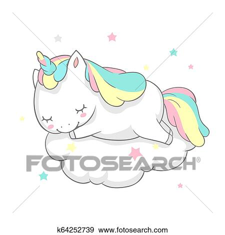 Unicorn Sleep Fairy Dream Poster Vector Template  Magic Card Watercolor  Print Template with Little Horn Pony Sleeping on Cloud  Fairytale Printable