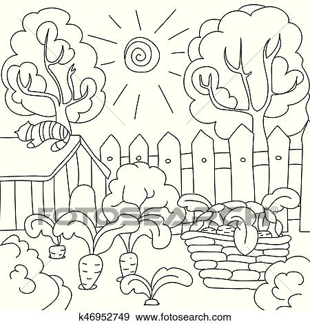 Vektor Ausmalbilder Möhren Garten Clip Art