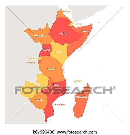 Africa Oriental Region Mapa De Paises En Oriental Africa
