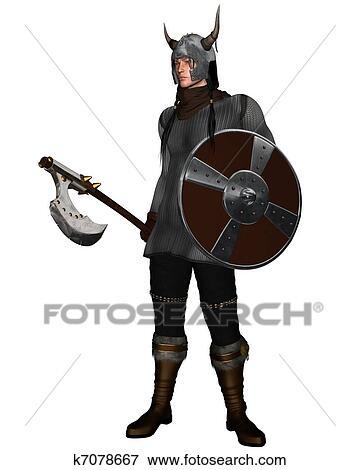 ファンタジー スタイル Viking 戦士 イラスト K7078667 Fotosearch