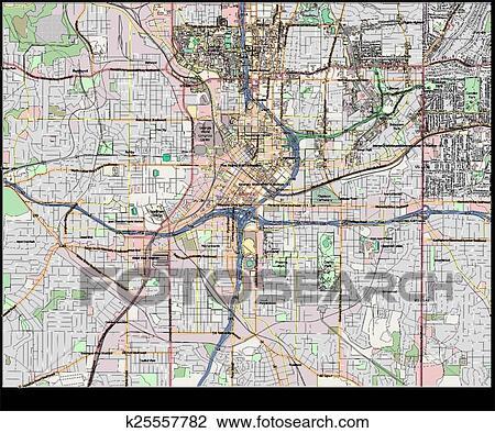 City Map Of Atlanta Georgia.Atlanta Georgia Usa City Map Clipart K25557782 Fotosearch