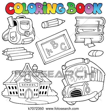 Clipart Ausmalbilder Schule Sammlung 1 K7072350 Suche Clip