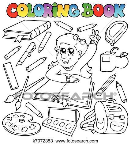 Clipart Ausmalbilder Schule Topic 1 K7072353 Suche Clip Art