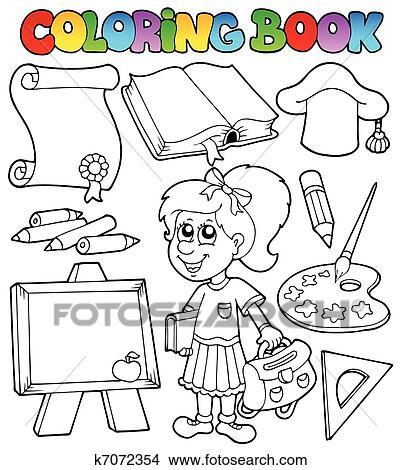 Clipart Ausmalbilder Schule Topic 2 K7072354 Suche Clip Art