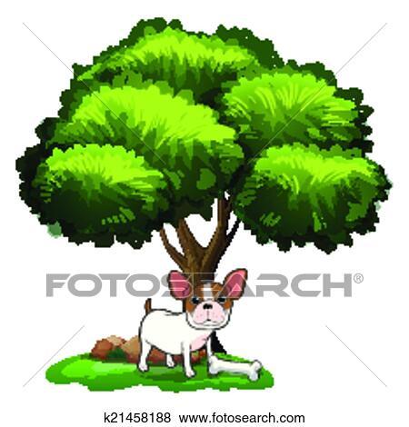 Dog Under Tree Clip Art K21458188