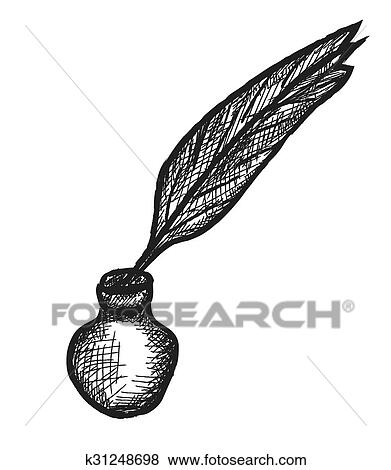 Black feather fountain pen illustration, Quill Paper Inkwell, ink  transparent background PNG clipart   HiClipart
