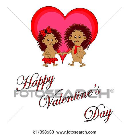 Clipart Of Funny Boy And Girl With Words Happy Valentine S Day