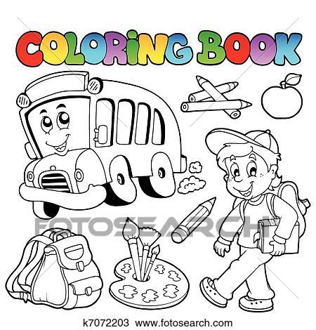 Clipart - libro colorear, escuela, caricaturas, 2 k7072203 - Buscar ...