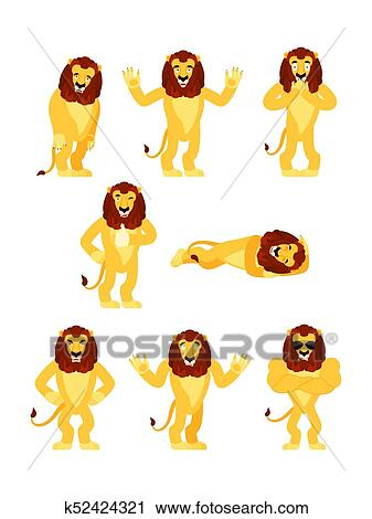 Beast sleeping and angry. guilty and sad. Vector illustration. Clipart -  Lion set poses and motion. Wild animal happy and yoga. Beast sleeping dcf779679635