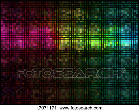 Multicolor Abstract Lights Disco Background Square Pixel Mosaic Vector Clipart