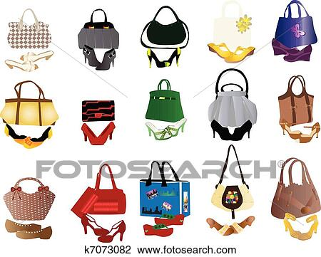 Clipart Of Shoes And Bags For Women K7073082 Search Clip Art