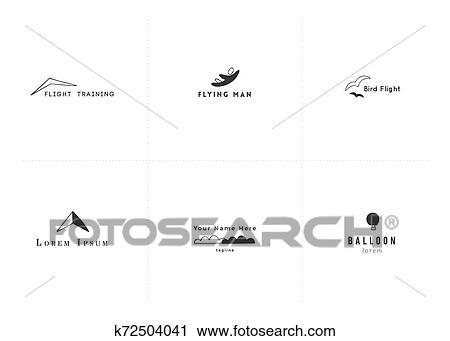 Vector set of hand drawn minimal logo templates. Sky ...