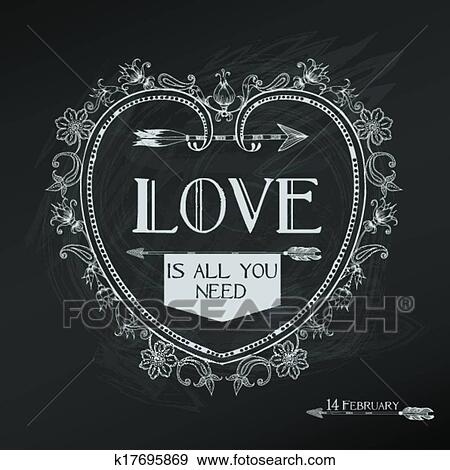 Clip Art Of Vintage Valentine S Day Card Design Love Wedding In