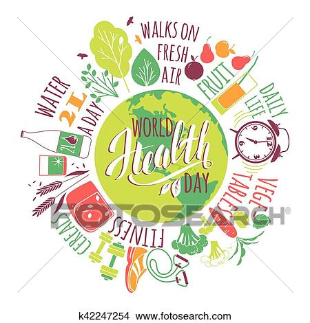 World Health Day Concept With Healty Lifestyle Illustration