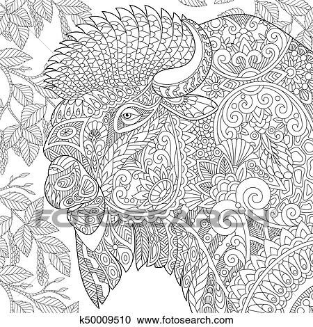Clipart - zentangle, estilizado, bisonte k50009510 - Buscar Clip Art ...