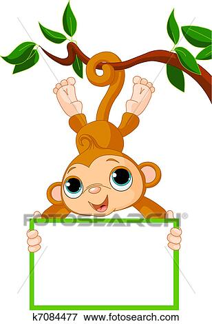 clip art baby monkey on a tree holding blank fotosearch search clipart