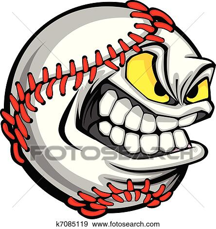 clip art of baseball face cartoon ball image k7085119 search rh fotosearch com baseball cartoon clipart basketball cartoon clip art