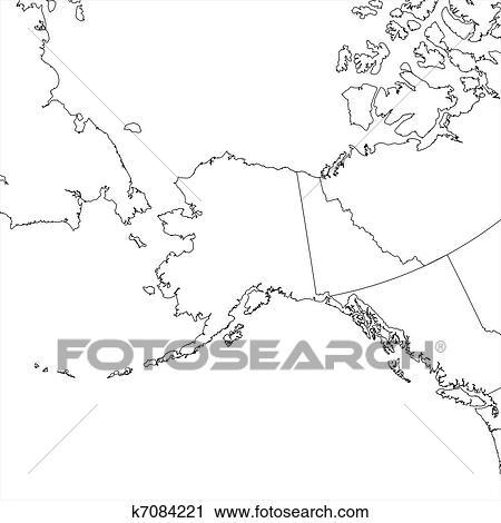 Blank Alaska Map.Clipart Of Blank Alaska Map K7084221 Search Clip Art Illustration