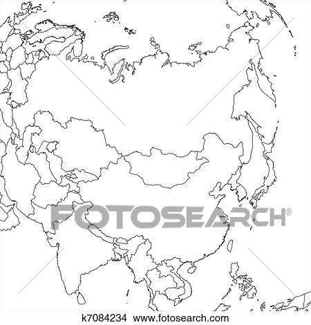 Drawings of Blank Asia Map k7084234 - Search Clip Art Illustrations ...