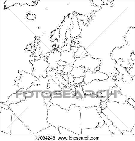 Blank Europe Map Stock Illustration | k7084248 | Fotosearch