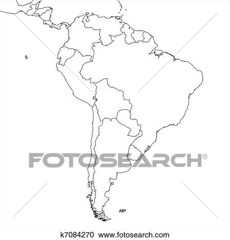 Blank South America Map Clipart | k7084270 | Fotosearch