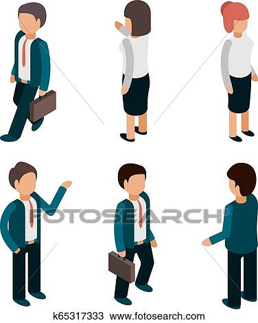 Business People Isometric Office Managers Workers Male And Female Directors Leaders Team Vector 3d Pictures Clipart K65317333 Fotosearch