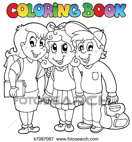 Coloring book school cartoons 6 Clip Art