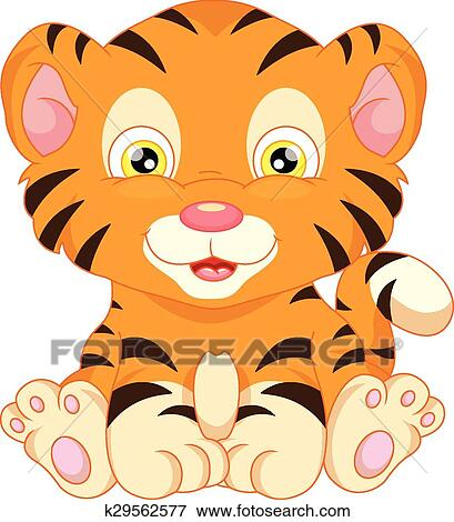 Vector Illustration Of Cute Baby Tiger Cartoon