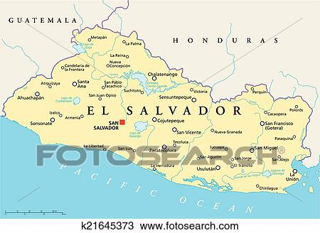 Clipart Of El Salvador Political Map K21645373 Search Clip Art