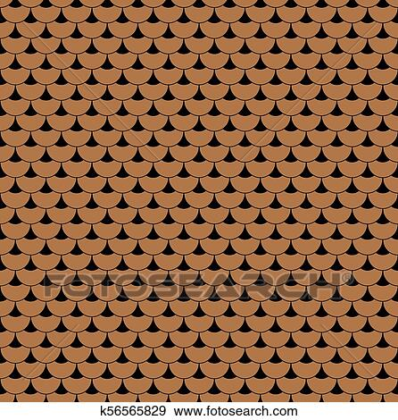 Geometric Fish Scales Chinese Seamless Pattern Wavy Roof Tile Background For Design Modern Repeating Stylish Luxury Texture Flat Pattern Vector Clip Art K56565829 Fotosearch