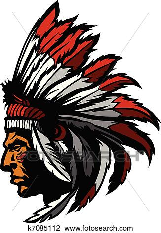 clipart of indian chief mascot head graphic k7085112 search clip rh fotosearch com indian chief clipart black and white indian chief clipart black and white