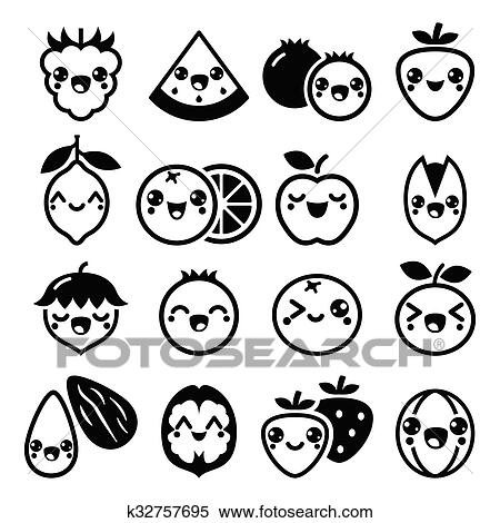 Clipart Of Kawaii Fruit And Nuts Cute Icons K32757695 Search Clip