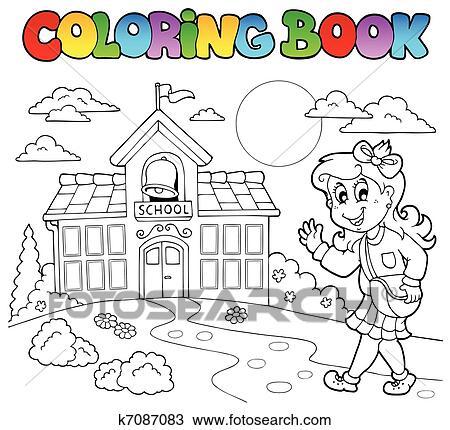 Clipart - libro colorear, escuela, caricaturas, 8 k7087083 - Buscar ...