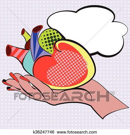 Main à Humain Dessin Animé Coeur Fait Dans Style Pop Art Vecteur Illustration Conception Pour Comiques Affiches Prospectus Cartes